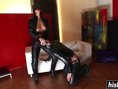 Girl in latex rides a fat dick