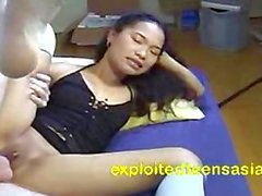 Frizzy Hair Filipino Teen Does Rimming & Deep Throat