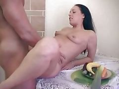 Brunette gal gets cum on hairy twat
