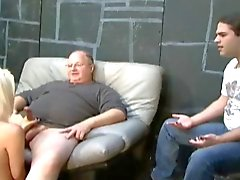 Husband watches old man dom the wife