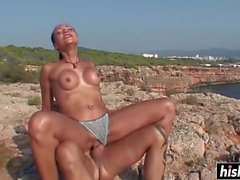 Busty brunette swallowed a cumload outdoors