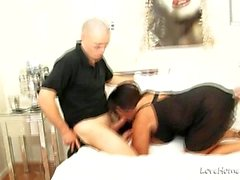 Busty girl got pleasured by two lads