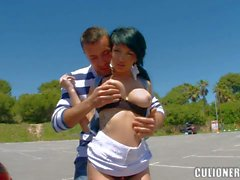 busty latina with pierced nipple gives head on the street
