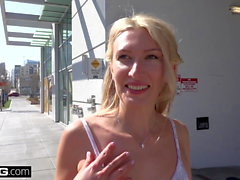 Russian MILF Angelina Bonnet flashes her tits in public