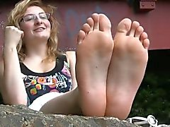 Shy French Girl's Beautiful Feet