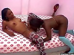 Strapon lesbo fuck in stockings