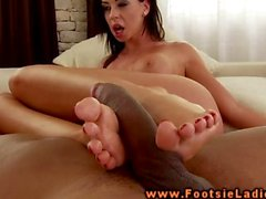 Feet job busty brunette rides cock hard and loves it