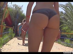 Hot Latina Thong Ass Bikini Cameltoe Beach Voyeur HD