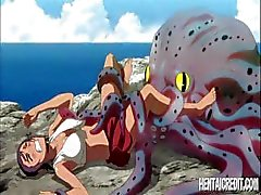 Deceitful hentai damsel with a breakable fuzzy lap flounder does some secret services for an octopus