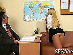 Threesome lesson with elderly teacher