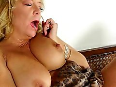 House cleaning makes grandma rub her pantyhosed pussy