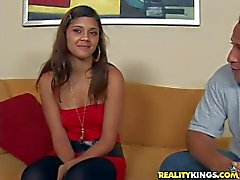 Shy Teen latina has interview with dirty Sergio