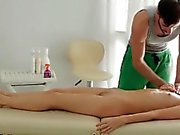 Teen blonde has soft massage who ends in hard