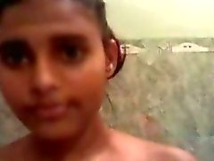 hot young indian babe in the saopy bath