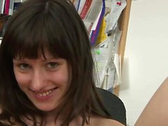 Beautiful secretary masturbates in the office