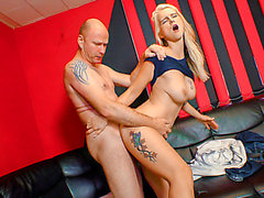 Tattooed German non-professional blondie in steamy hard pickup and fuck fearsome-fearsome PornDoe