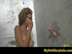 Initiating black girl in the art of interracial gloryhole blowjob 6