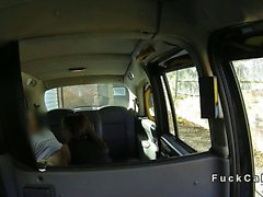 British babe with monster tits banging in fake taxi