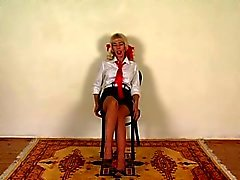 Passion UK schoolgirl spanked in seamed stockings part 1
