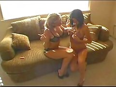 Lesbians Smoking while playing