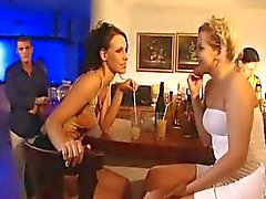 Anal sex from behind in a bar
