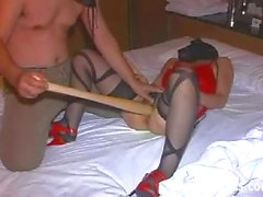 Extreme slave brutally fucked with a huge baseball bat
