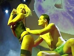 naked blonde lapdance on public stage