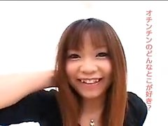 Pigtailed Japanese sucking wanking POV cock