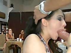 Chicks are engulfing stripper's cock hungrily