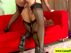 Mature strapon lesbians in stockings
