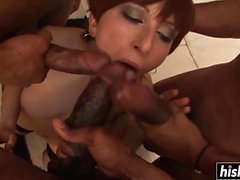 Naughty girl fucks with more guys at once