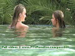 Rilee and Sara independent lesbian babes kissing and touching each other