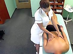 Nurse massages andbangs patient