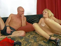 Blonde Charlee Chase with huge juggs loves it doggy style