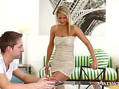 Fleshly and romantic golden-haired Samantha Jolie is screwed by vehement paramour in different poses