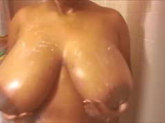 Chubby Teen milks and plays with tits