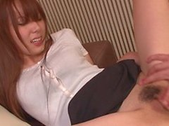 Japanese beauty gets her pussy explored with a large dildo