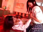 2 Schoolgirls Kissing Patting In The Classroo