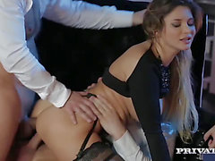 Double penetration 3some for breasty dark brown gal Anna Polina fearsome-menacing PornDoe