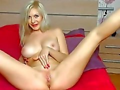 Gorgeous Blonde Fucks her Pussy with a Huge Dildo