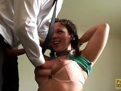 Young busty subslut Kloe White facialized and dommed hard