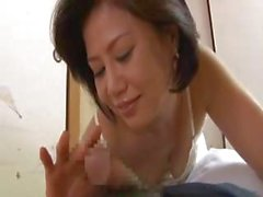 Mischievous mature Japanese benjamin with a blissful honey pot sucks on a sleeping dude's dick