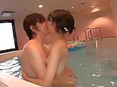 Supercute Japanese teen Ruri fucked in the indoor pool