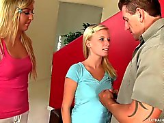 Babysitter Elaina Raye and her friend suck hard Cock