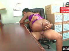 Tattooed guy fucks a hot secretary