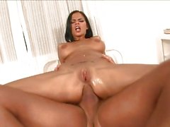 Black Angelica bounces her tight ass on this hard dick