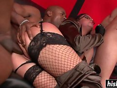 Emma Butt in fishnets gets two cocks