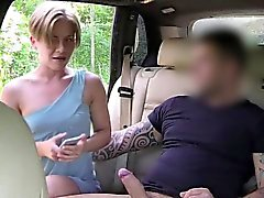Blonde doing selfie on cock in fake taxi