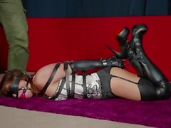 asian bound in leather and gagged