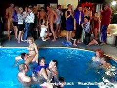 Group sex swinger's pool party